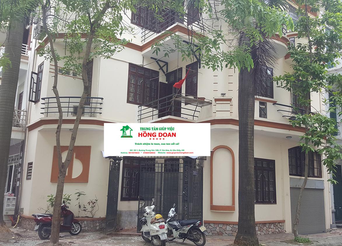 Trung tâm giúp việc Hồng Doan tọa lạc tại Biệt thự số 1, Lô 4E, đường Trung Yên 10B, Yên Hòa, Cầu Giấy, Hà Nội